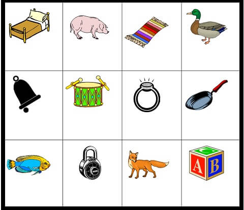 Set of 12 pictures, used in our memory games for kids
