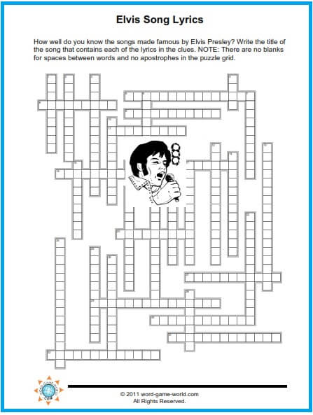 music crossword puzzles grid