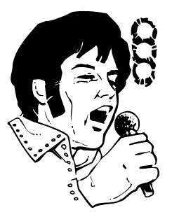 Elvis with a microphone