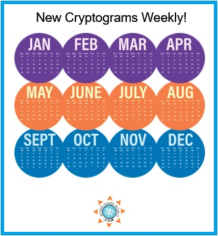 Calendar with title : New Cryptograms Weekly
