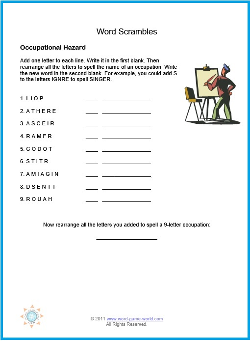 photograph about Printable Word Scrambles for Adults known as Printable Phrase Jumbles for Your Enjoyment Enjoyment!