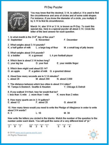 Pi Day Puzzler, one of our educational games for middle school, from www.word-game-world.com