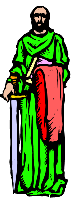 the Apostle Paul in a green tunic
