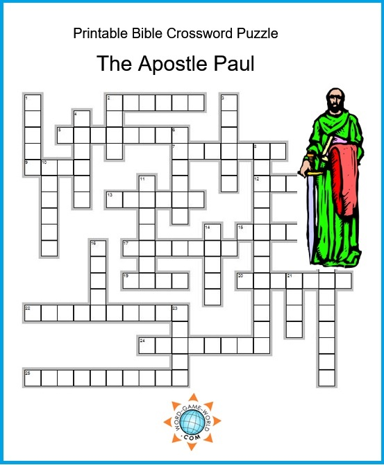 printable Bible crossword about the Apostle Paul