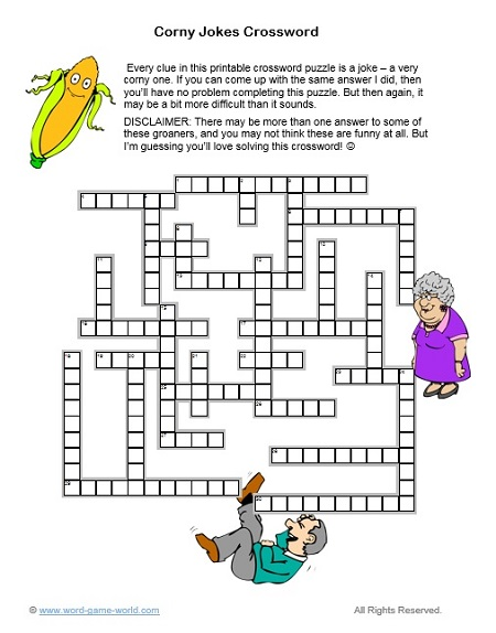 printable crossword puzzle - Corny Jokes