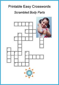 Printable Easy Crossword Puzzle Featuring Scrambled Body Parts Fun For Kids Of All Ages