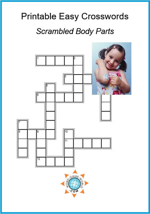 Printable Easy Crosswords are lots of fun! This one features scrambled body parts.  #easycrossword