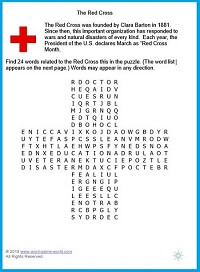 The Red Cross word search puzzle, an educational game to play from www.word-game-world.com