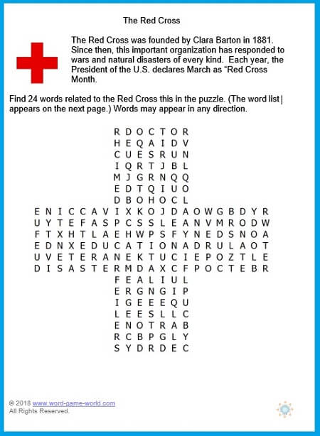 International Red Cross word search puzzle from www.word-game-world.com