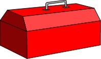 Red toolbox from our easy printable crosswords for adults called,