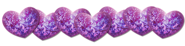 row of purple sparkly hearts