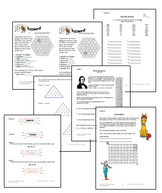 Sample pages from 101 Word Play Puzzlers by Ann Richmond Fisher, downloadable ebook from #wordgamewworld