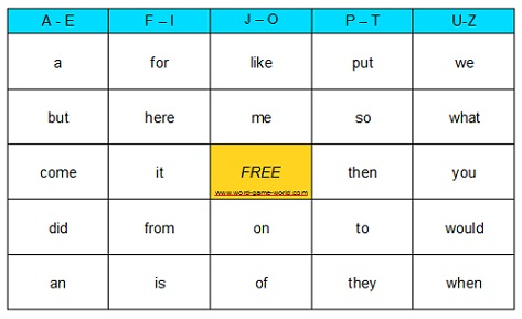 Fun Games, word  Sight Reading Bingo, reading sight Games! games and Word Sight Word