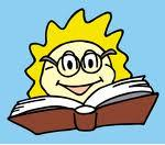 smiling cartoon kid reading from a big book