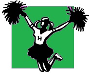 cheerleader with H on her sweater