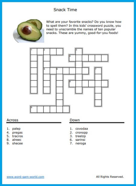 Snack Time Crossword for Kids. Find the printable page at https://www.word-game-world.com/crossword-for-kids.html
