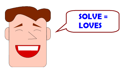 Happy guy saying SOLVE = LOVES