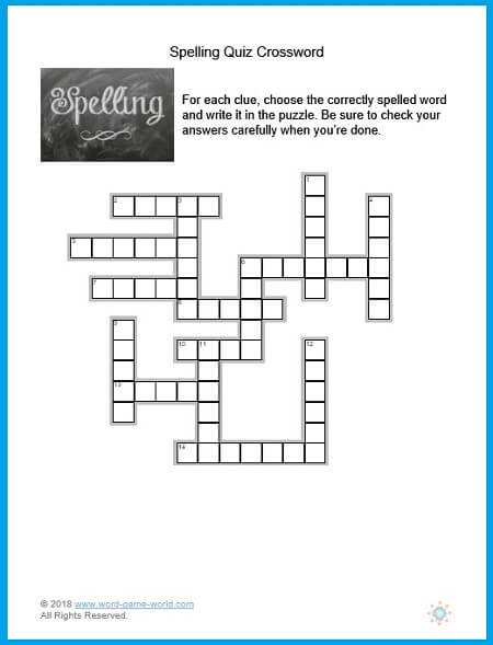 This spelling quiz crossword is a great way for kids to practice the correct spelling of simple, frequently misspelled words. From www.word-game-world.com