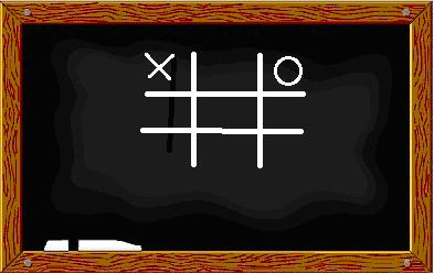 tic-tac-toe board written on the chalkboard