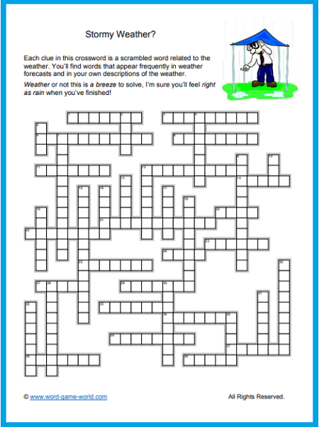 Crossword puzzles free- Stormy Weather Word Scramble Crossword
