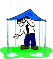 guy ducking under a tent during a rainstorm