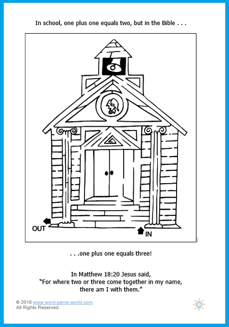 Sunday School printable of a school maze, to go with a brief lesson on Matthew 18:20