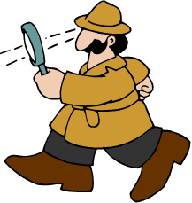 cartoon detective with large magnifying glass
