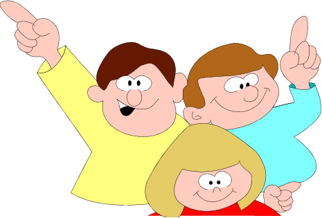 three smiling cartoon-y kids with their hands in the air