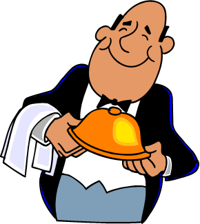 smiling waiter with towel and dish