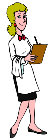 waitress with paper and pencil
