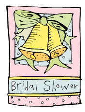 Bridal shower sign with wedding bells