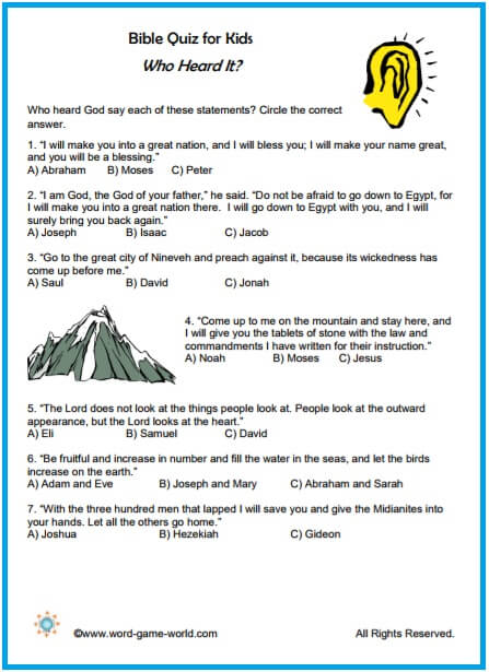 graphic regarding Printable Bible Trivia Games titled Enjoyable Bible Quiz for Children