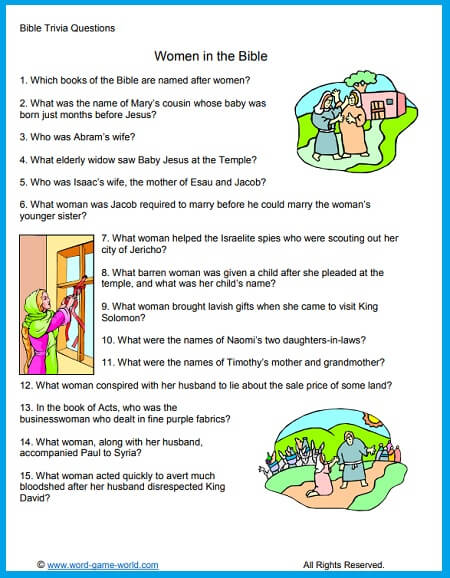 Women In the Bible Trivia Questions from Word-Game-World.com