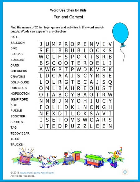 Fun and Games is the title of one of our newest word searches for kids. From #wordgameworld.com