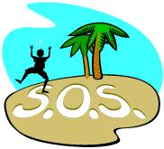 man on desert island with SOS written in the sand