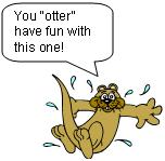 cartoon otter diving into water