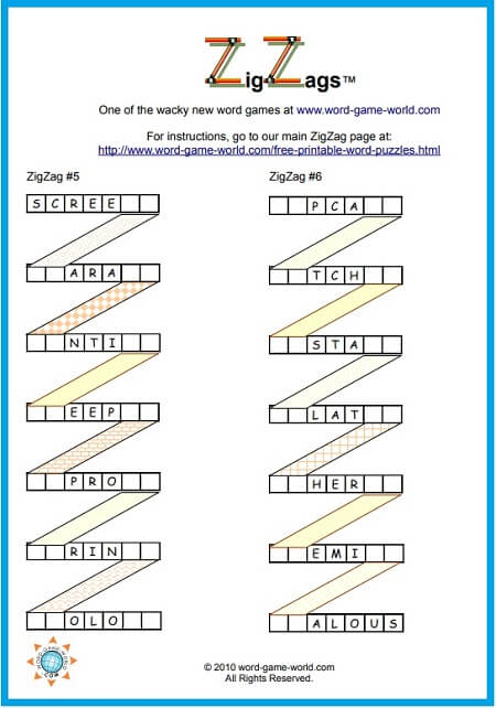 Fun Word Puzzles Zigzags